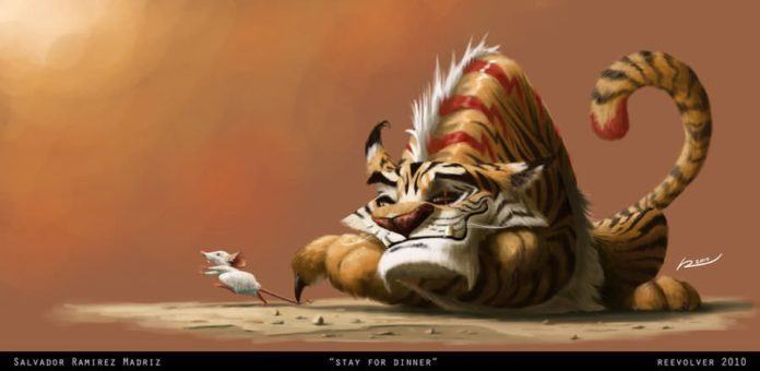 funny photoshop painting tiger mouse dinner cute art
