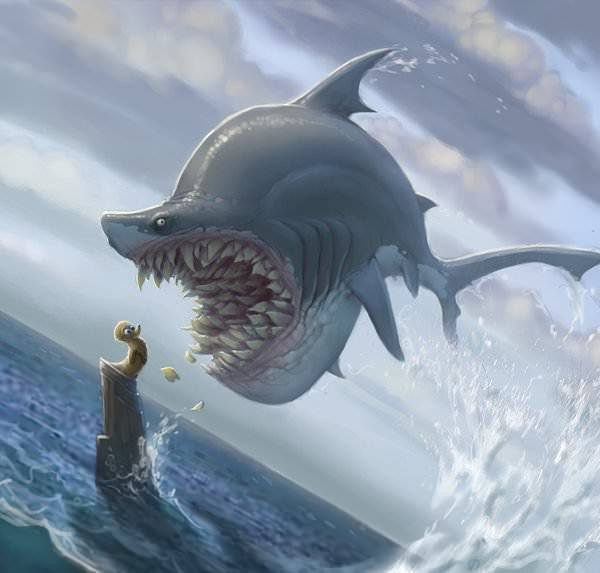 funny shark painting ducky duckling scary evil humor photoshop painting illustration