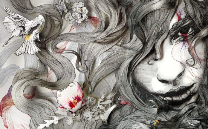 Portrait of a beautiful girl with birds and flowers in her hair by Gabriel Moreno