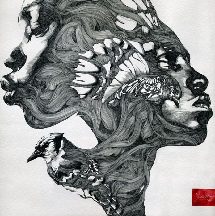 A pen and ink painting by Gabriel Moreno that merges the faces of two African women