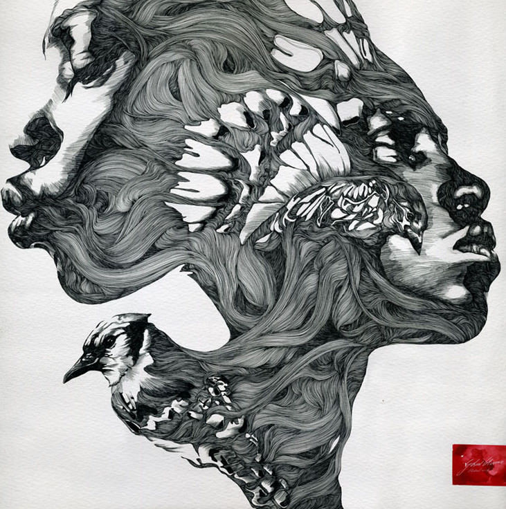 Ink Line Drawing Artists : Art and life hybrids by gabriel moreno « illustration