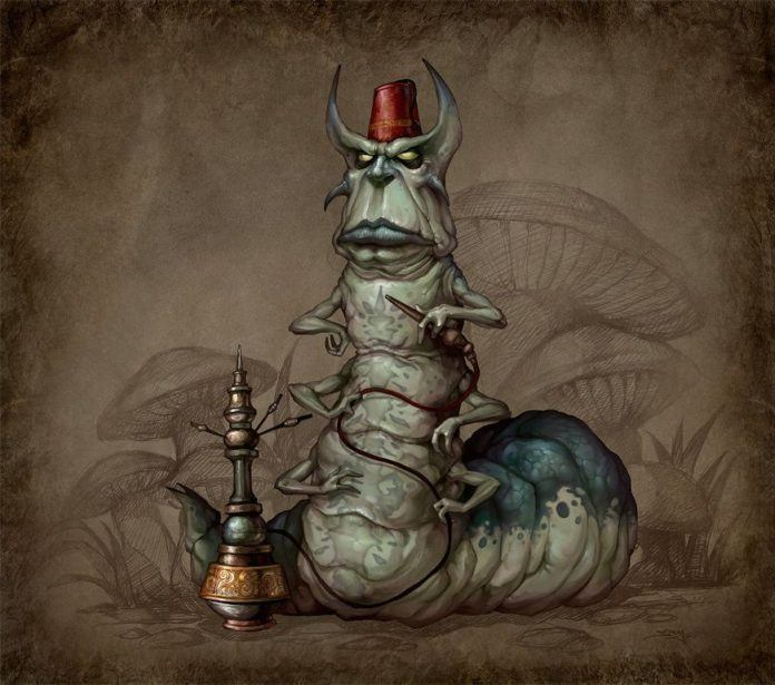 hookah smoking caterpillar alice in wonderland fan art illustration