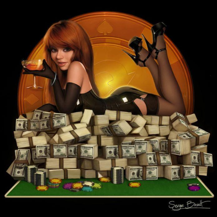 hot redhead poker player pin up girl digital art illustration photoshop design pile of money