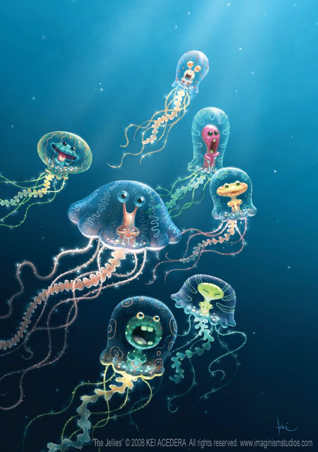 imaginism studios cute alien jellyfish pixar style photoshop illustrations