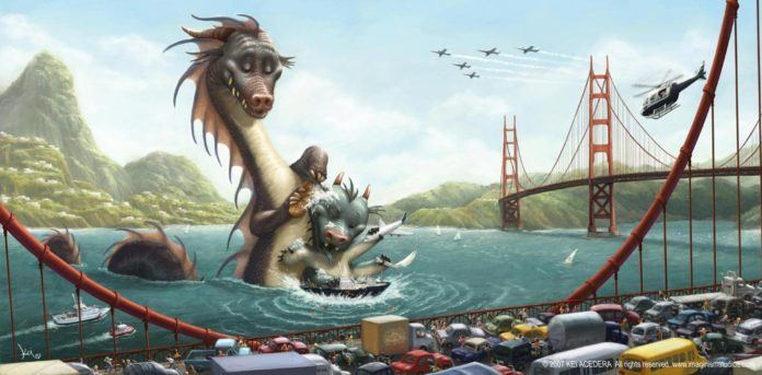 imaginism studios dragon bathing sea pixar style photoshop illustration cute fantasy