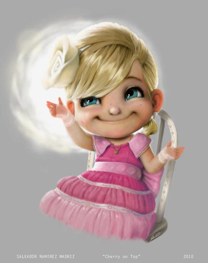 little cupid girl angel cherub cute photoshop painting pixar style character design