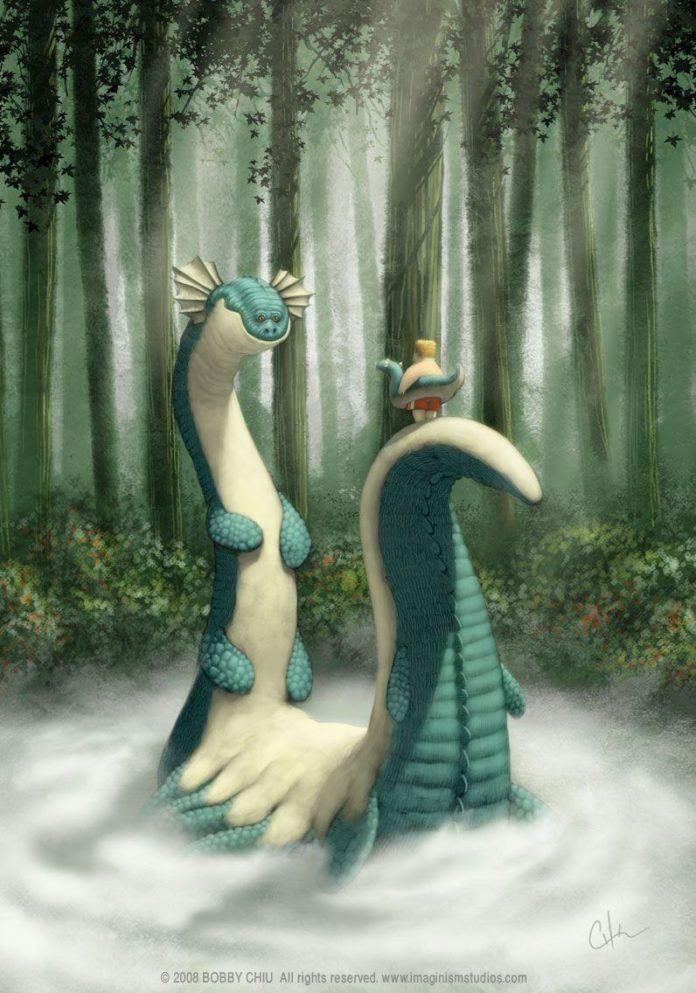 loch ness monster funny photoshop painting pixar style art