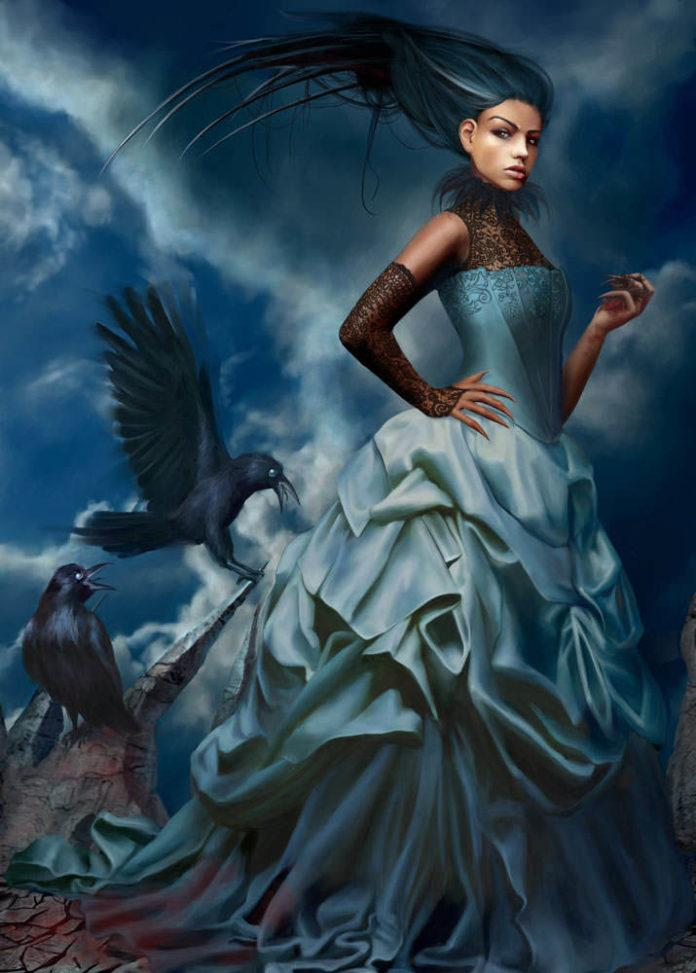 marta dahlig female death woman crows gothic art photo realistic painting digital art