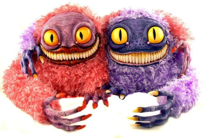 monster doll couple pink purple cute creepy funny creature character model