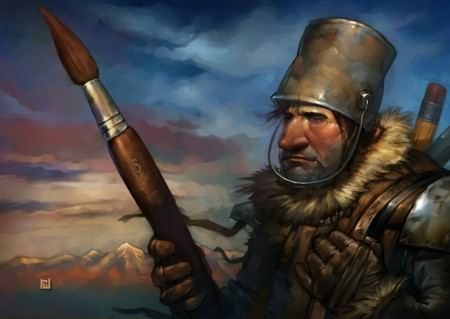 paintbrush mightier than sword warrior bucket helemt funny phtooshop art painting