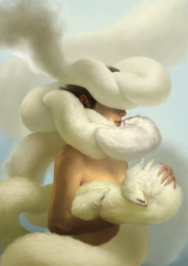 photoshop surrealist painting woman mink coat live animal beautiful clouds ferrets pets