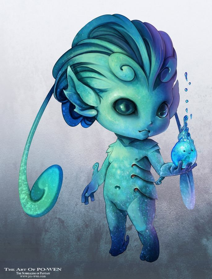 po wen alien child water sprite creature design photoshop painting
