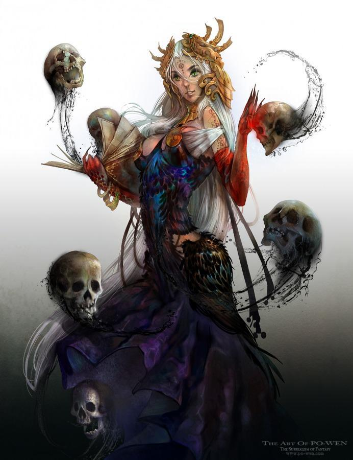 po wen art anime character design woman female death skulls