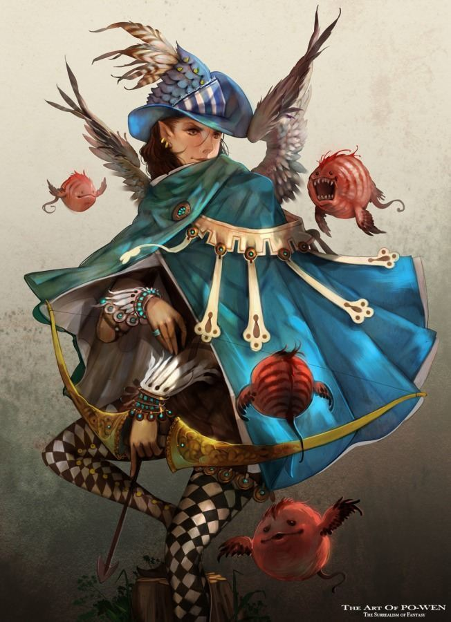 po wen art anime manga woman jester archer medieval fantasy character design