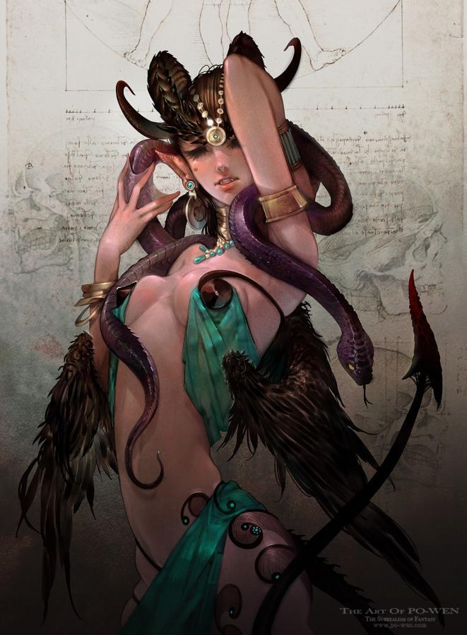 po wen demon woman snake devil horns evil anime character