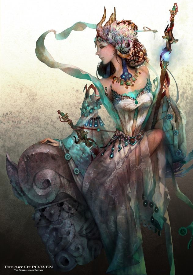po wen fantasy warrior woman art painting design character
