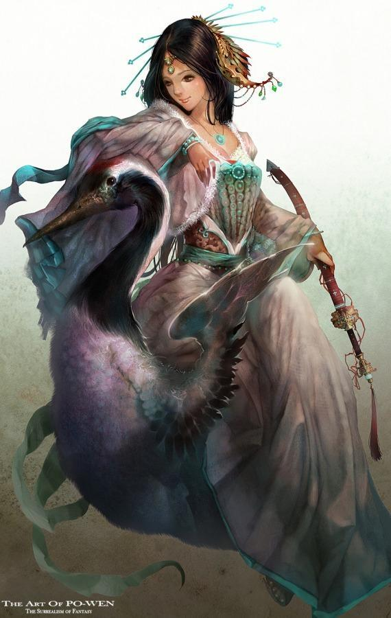po wen samurai woman crane bird photoshop painting character design