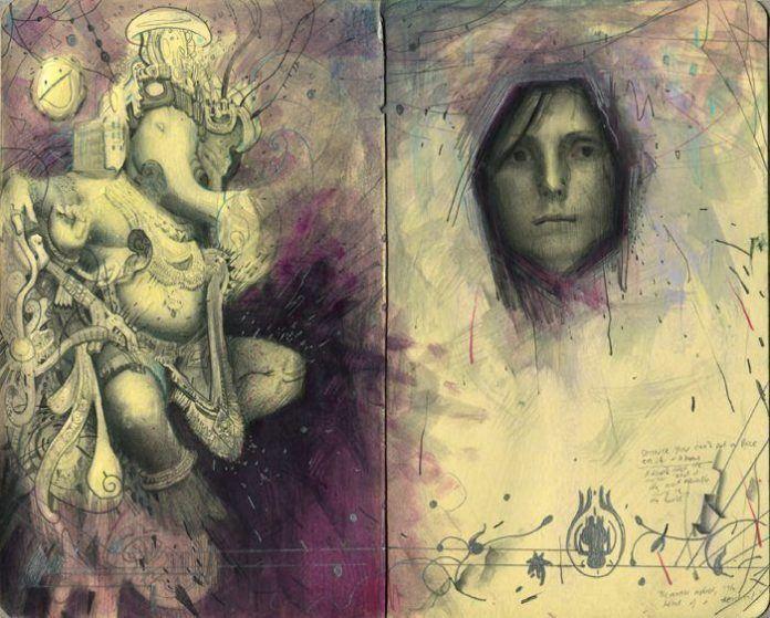 rod luff sketch indian god ganesh portrait creative art design illustration