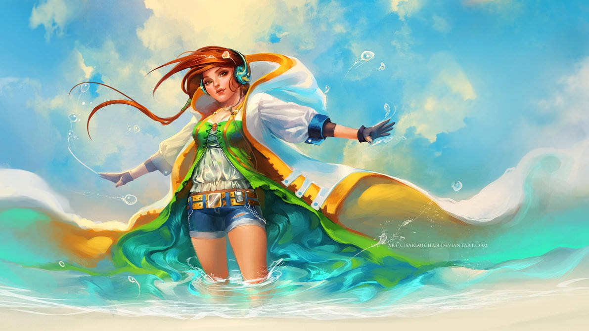 Digital anime and manga paintings by sakimichan mayhem - Beach anime girl ...