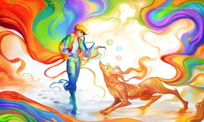 sakimichan color friendship life relationship man animal dog digital painting photoshop art