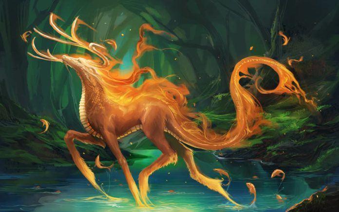 sakimichan fantasy hybrid animal dragon deer magic art photoshop digital painting