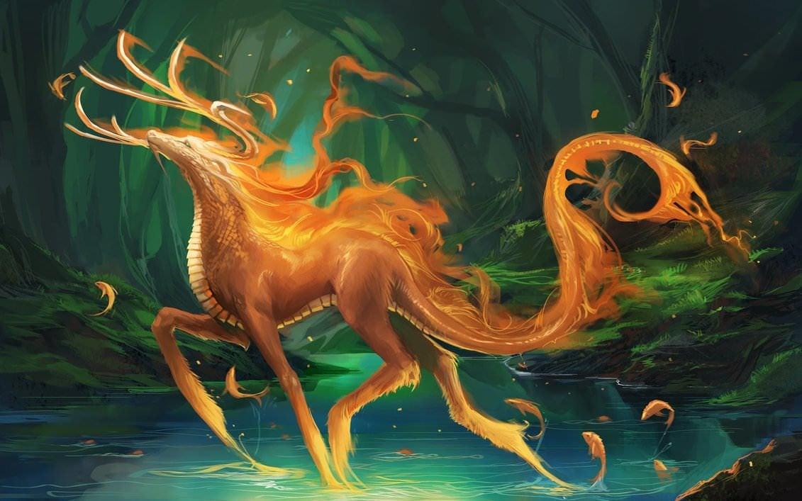Sakimichan Fantasy Hybrid Animal Dragon Deer Magic Art