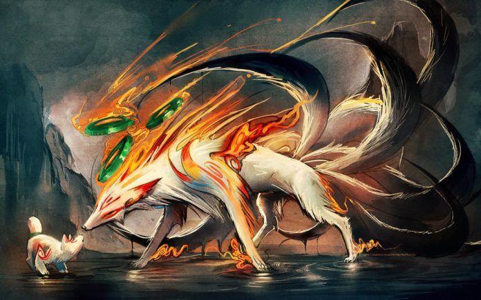 sakimichan nine tailed fox naruto fan art anime manga digital art painting