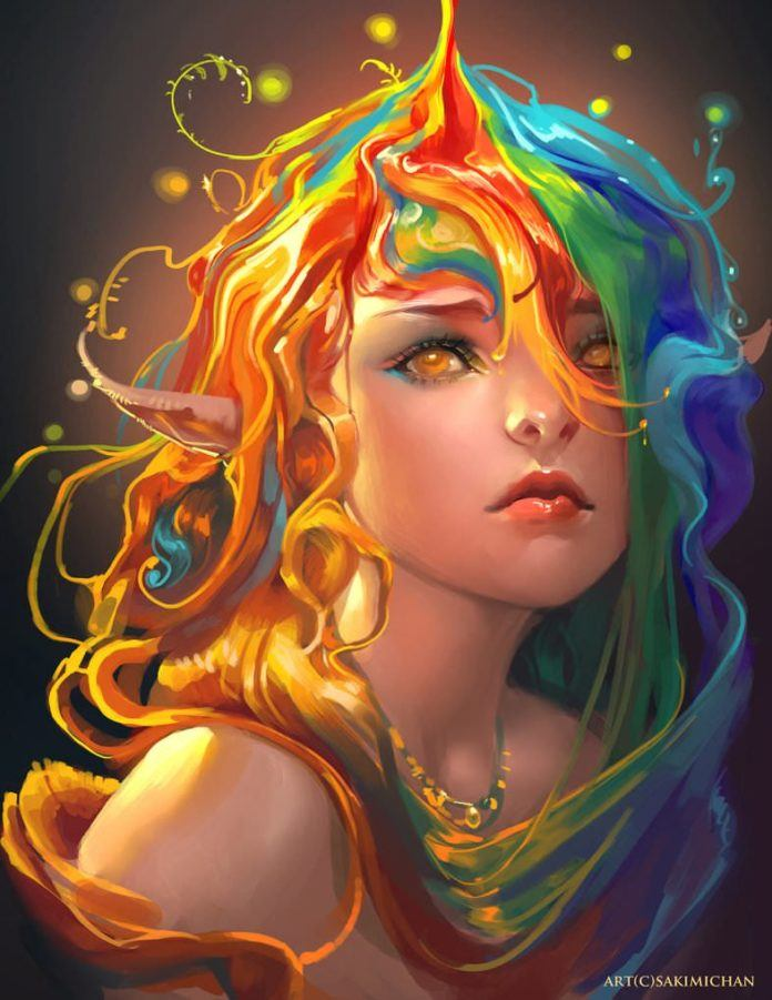 sakimichan rainbow hair elf girl beautiful fantasy portrait digital painting photoshop art