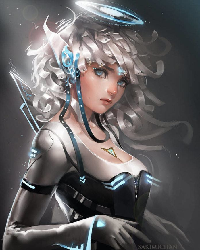 sakimichan sci fi fantasy hybrid robot elf magic manga anime digital painting photoshop art