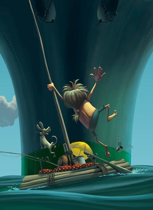 silber raft castaway rescue ship funny photoshop painting design illustration