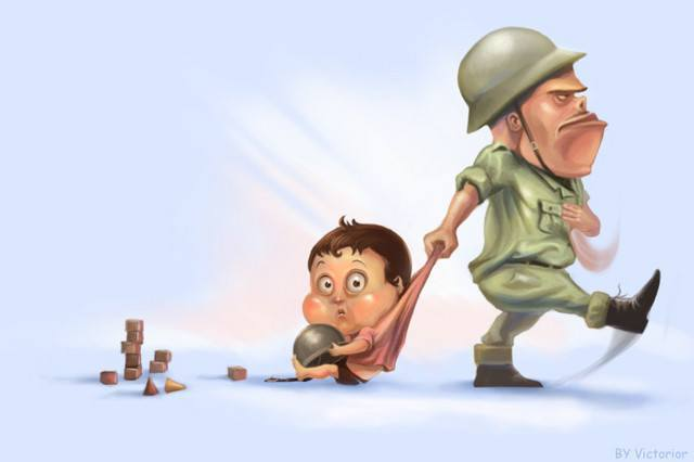 social commentary art child soldier funny photoshop painting art