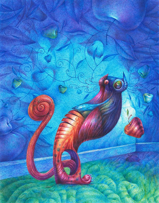 surrealist abstract cat design color unusual bizarre odd art painting illustration