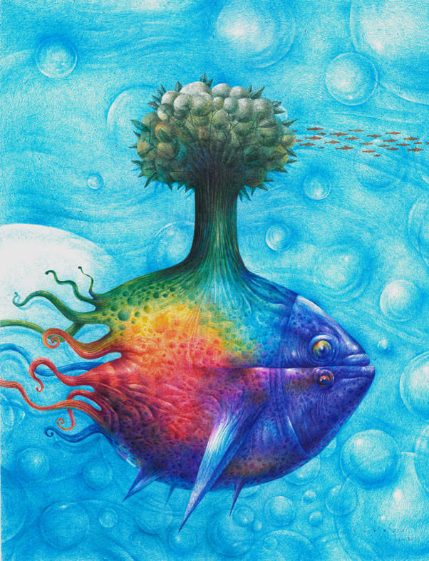 surrealist fish tree art painting design illustration character color shape