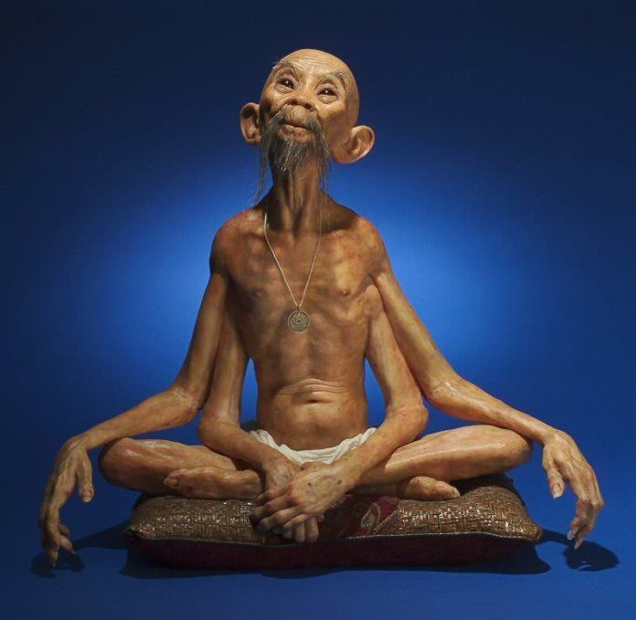 thomas kuebler life size sculpture ghandi indian guru four arm deity god prophet