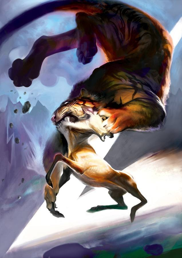 torron tiger catches deer photoshop painting animal art digital