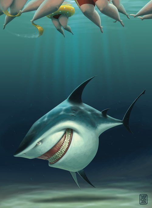 zilber evil shark grinning swimmers summer funny photoshop art