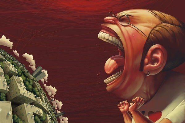 zilber illustration art man portrait caricature city world shouting