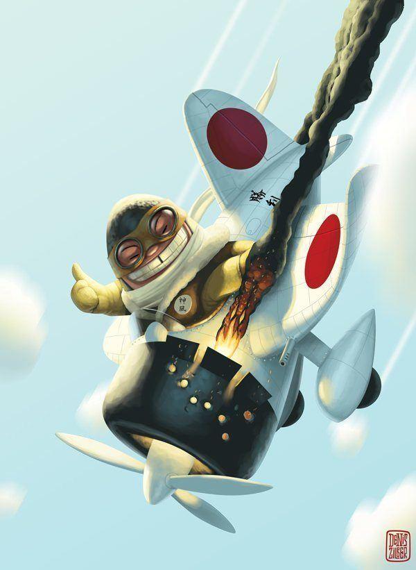 zilber japanese kamikaze pilot plane crash grin character design illustration art