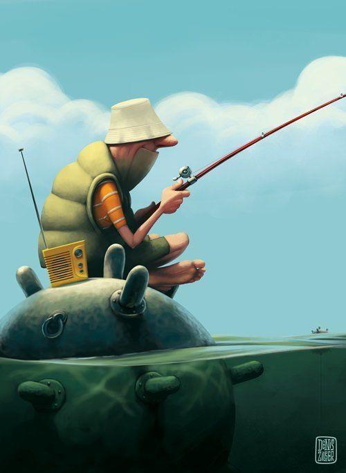zilber man o war bomb fishing radio funny photoshop illustration art