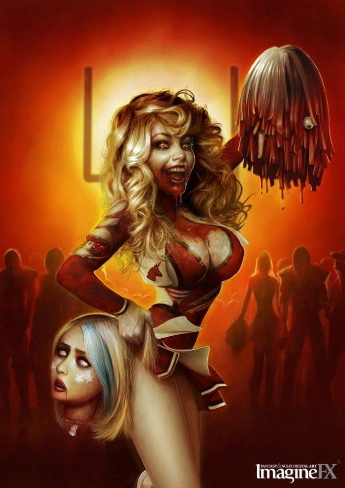 zombie cheerleader funny photoshop pin up girl horror decapitation digital art