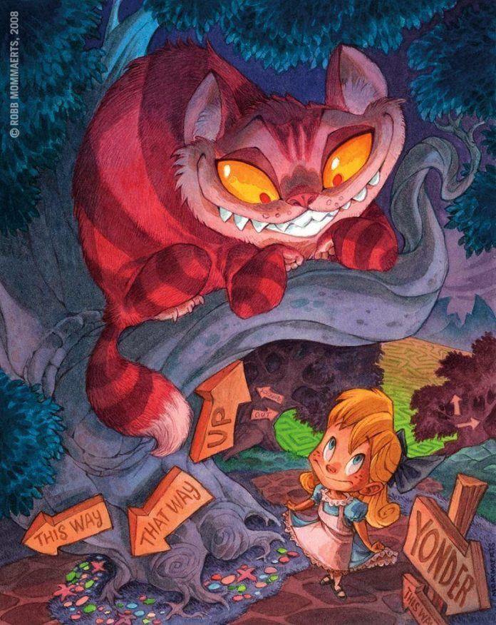 alice in wonderland cheshire cat grin fantasy classical childrens story illustration funny humor photoshop