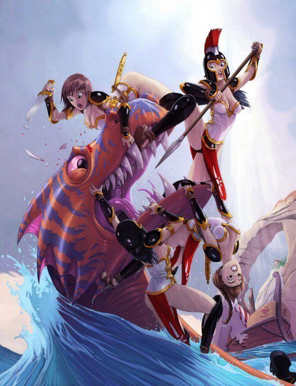 amazon women fight sea monster action photoshop digital painting art sexy funny humor cartoon