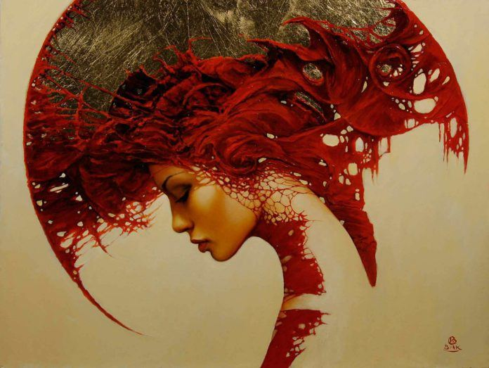 art woman shapes patterns fantasy gothic red portrait painting surrealism headdress