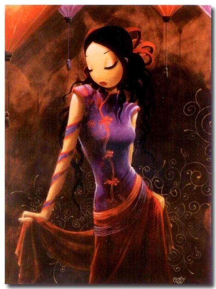 asian girl feminine fine art oil painting beautiful women chinese dress design
