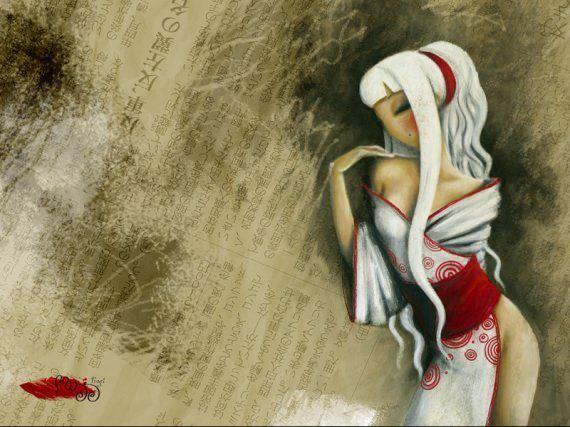 asian girl white hair fine art oil painting sexy beautiful woman feminine