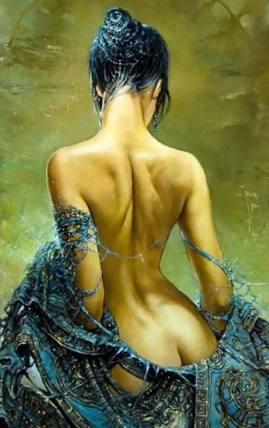 beauitful portrait painting woman nude back shape decorative art fantasy surrealism feminine