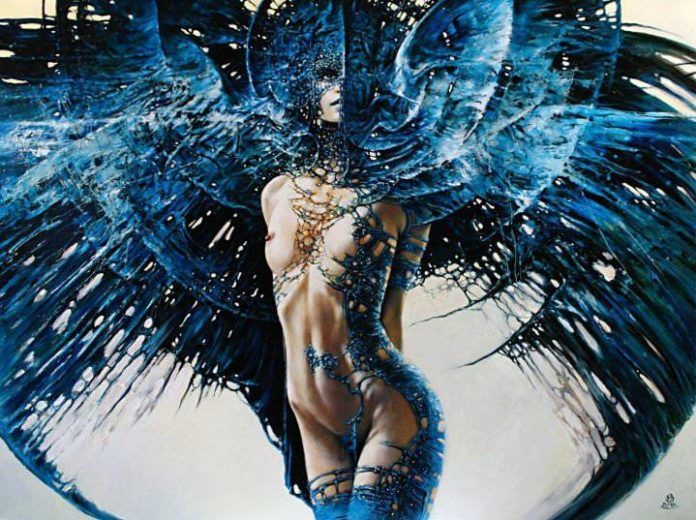 beautiful feminine painting portrait dark goth angel war nude woman art