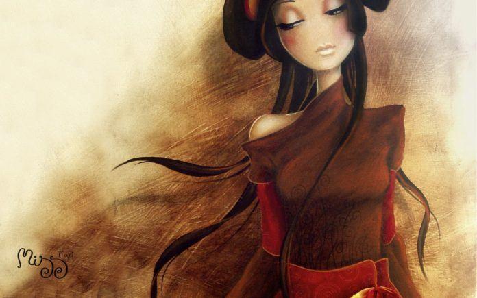 beautiful girl long hair character fine art oil painting design feminine asian woman