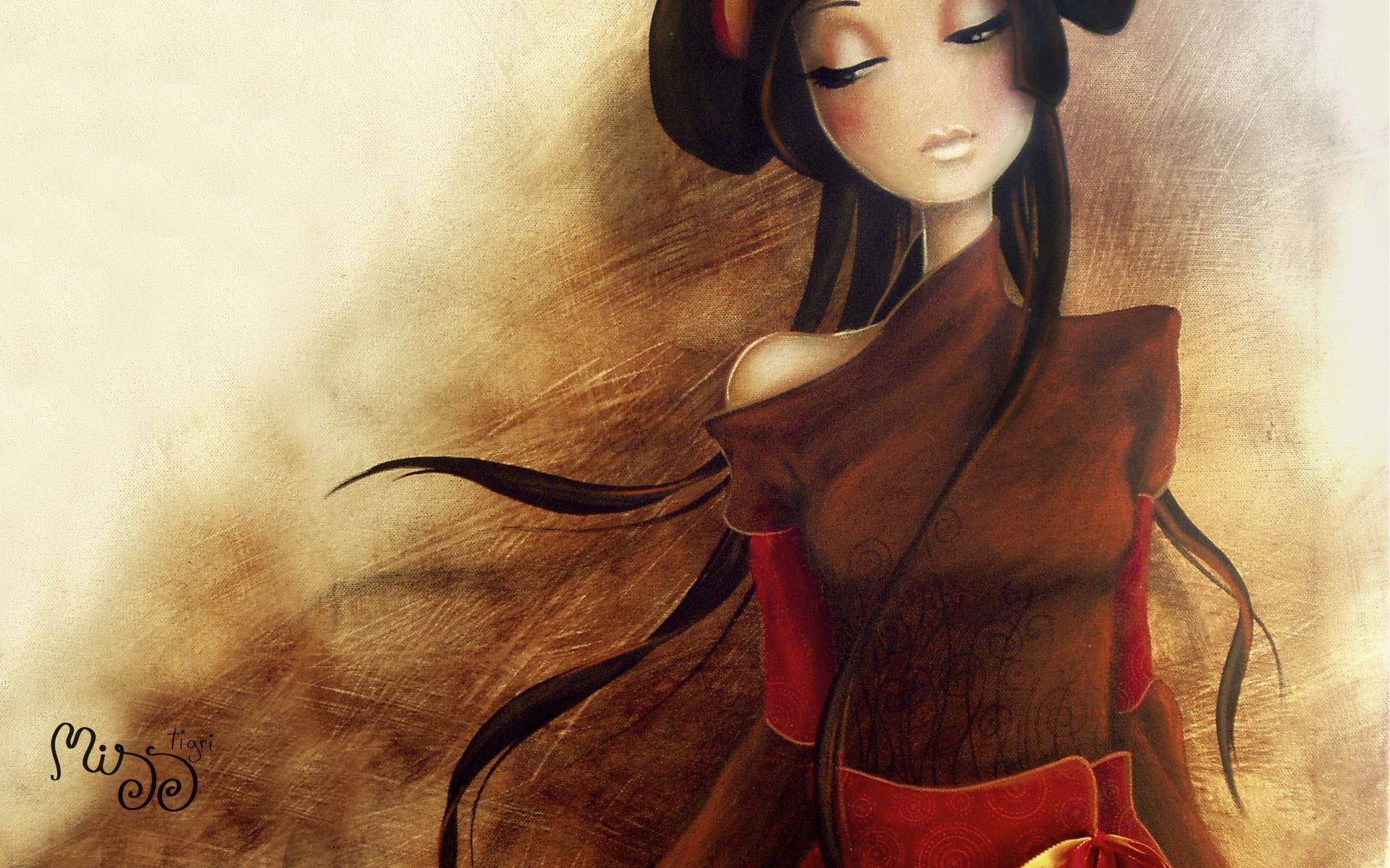 beautiful girl long hair character fine art oil painting design
