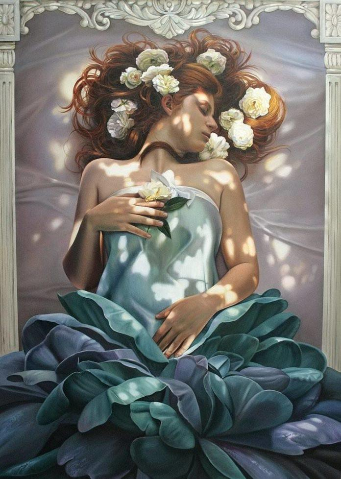 bride woman art painting beautiful flowers female feminine hair sleeping beauty